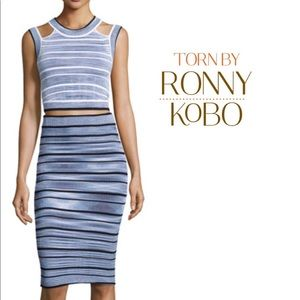 Torn by Ronny Kobo Multi-color Blue White Striped